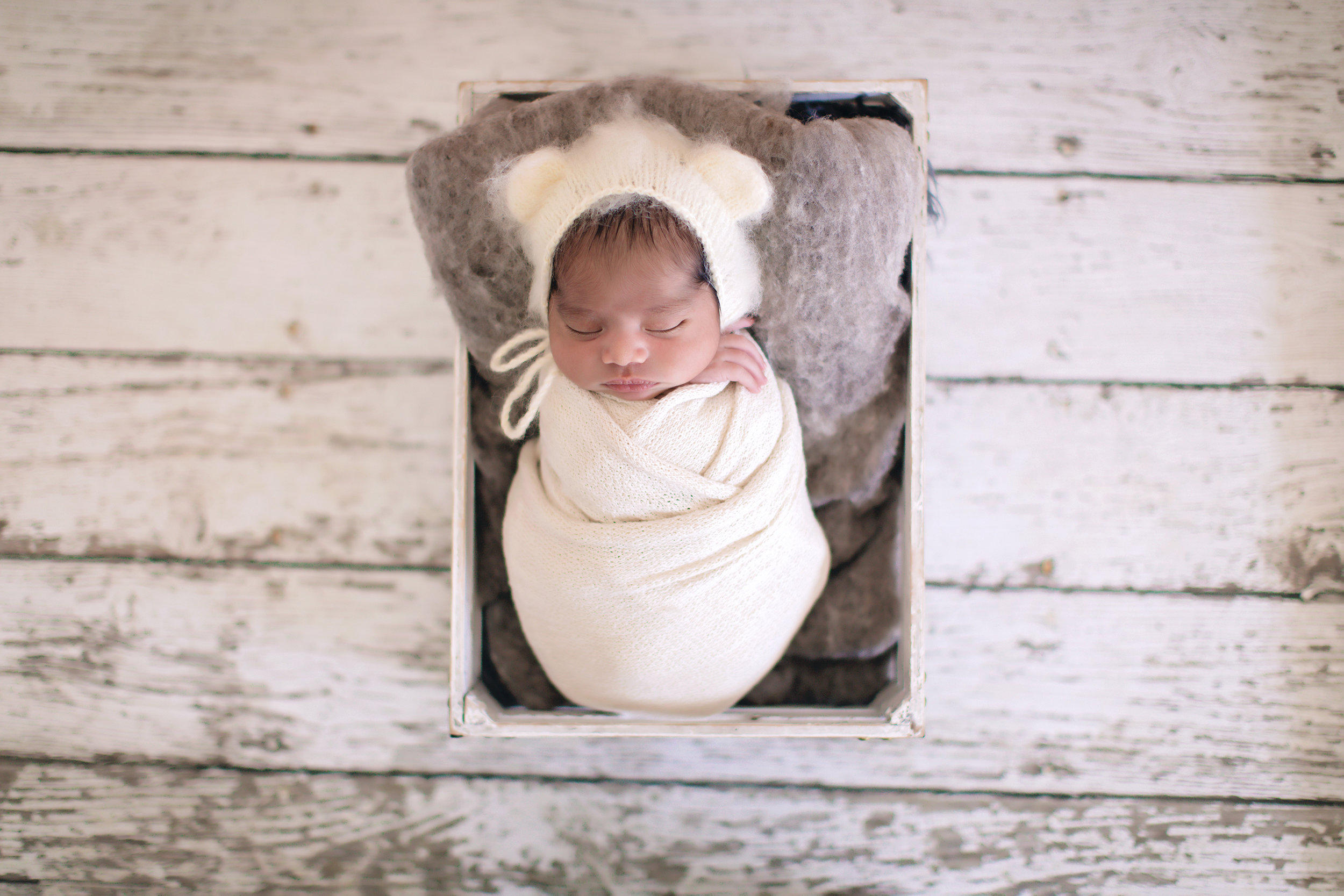 Newborn baby boy is posed in a crate - newborn baby photoshoot ideas. Calgary and Airdrie, Alberta baby and newborn photographer.