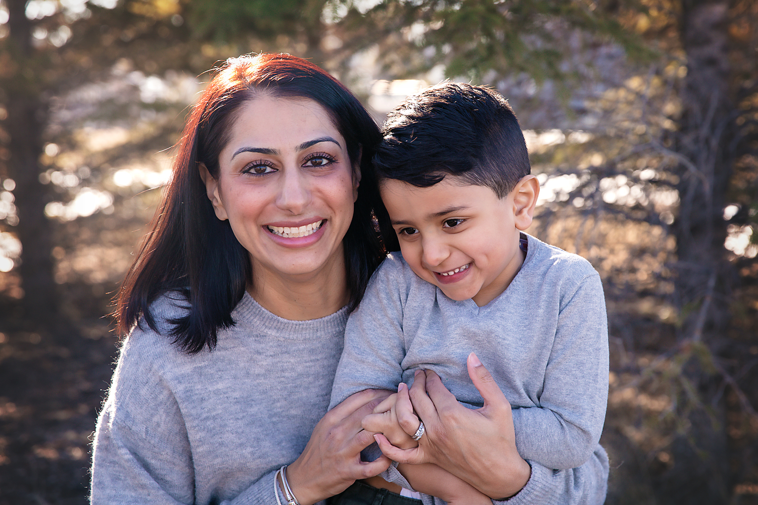 Portrait of a mother and her son. Family photographer in Calgary, Alberta