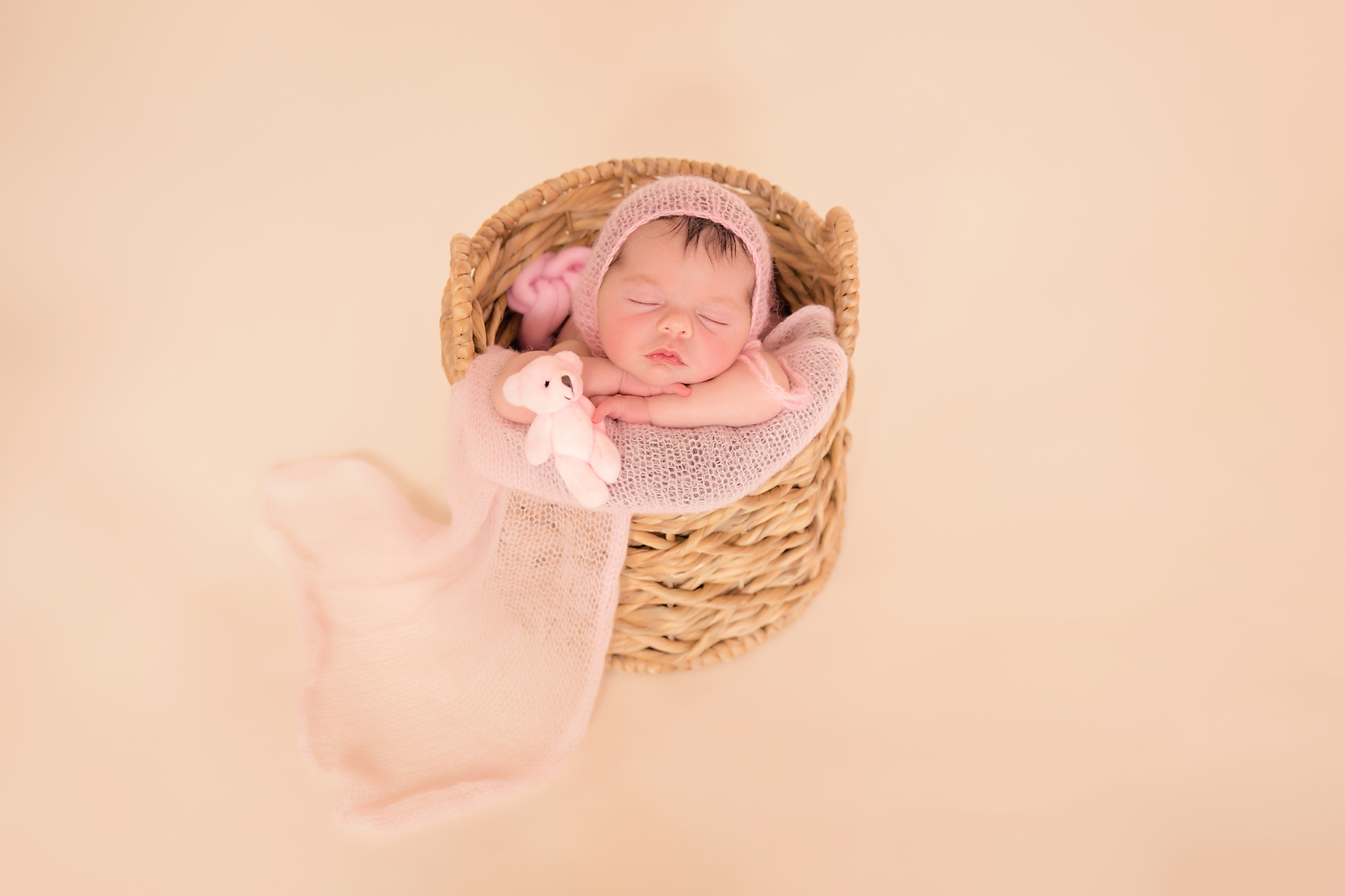 Newborn baby girl photoshoot idea. Calgary and Airdrie Newborn Photographer - Milashka Photography. Baby girl is in a basket and is holding her little pink bear.