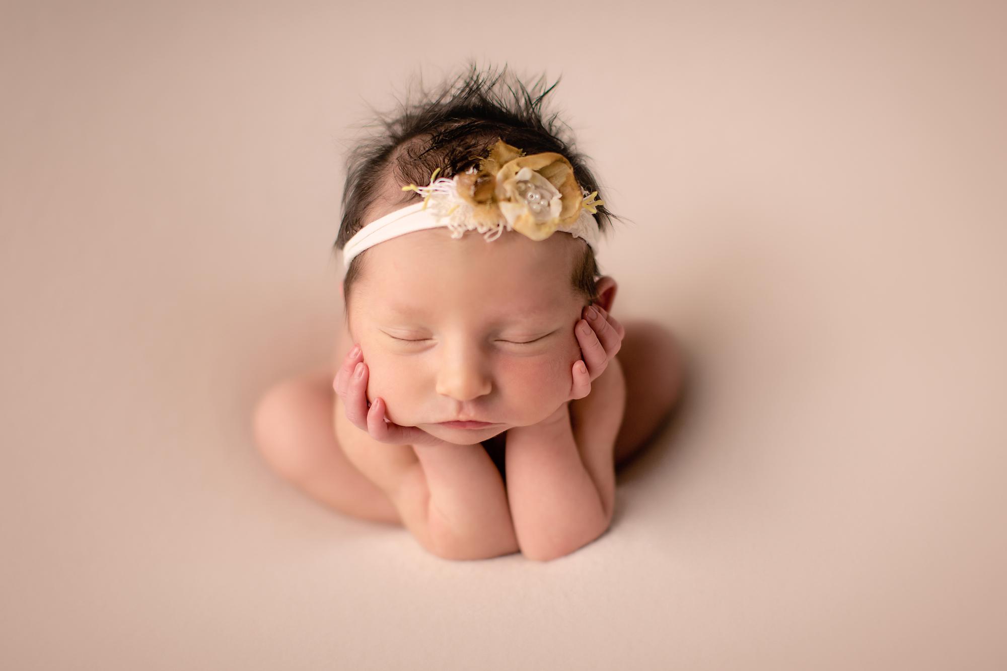 Froggy pose - newborn baby girl. Newborn Photoshoot ideas. Calgary and Airdrie newborn baby photographer - Milashka Photography