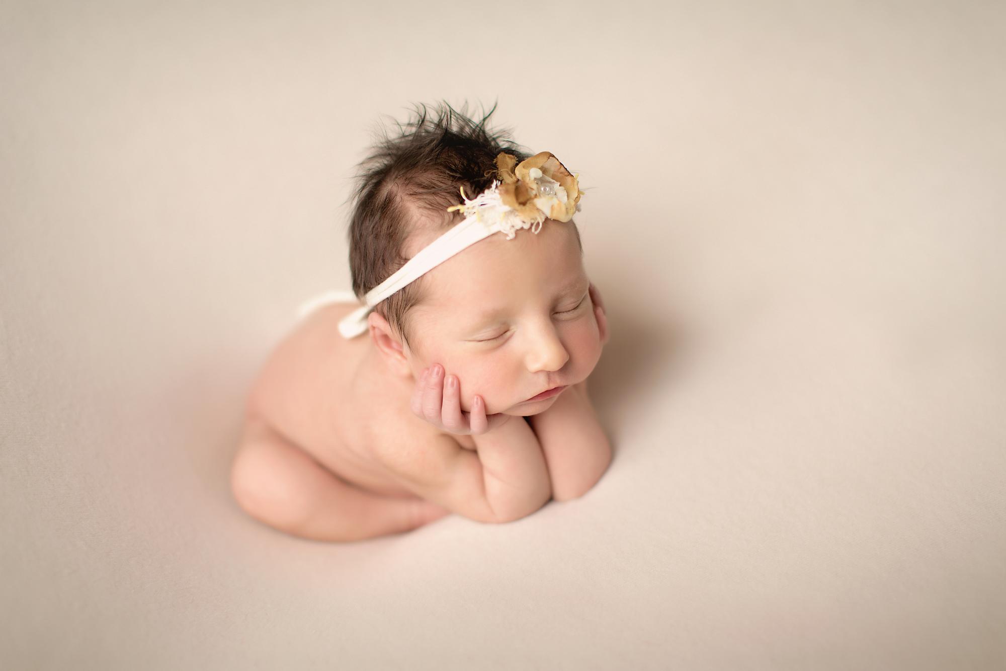 Side froggy pose - newborn baby girl. Newborn Photoshoot ideas. Calgary and Airdrie newborn baby photographer - Milashka Photography