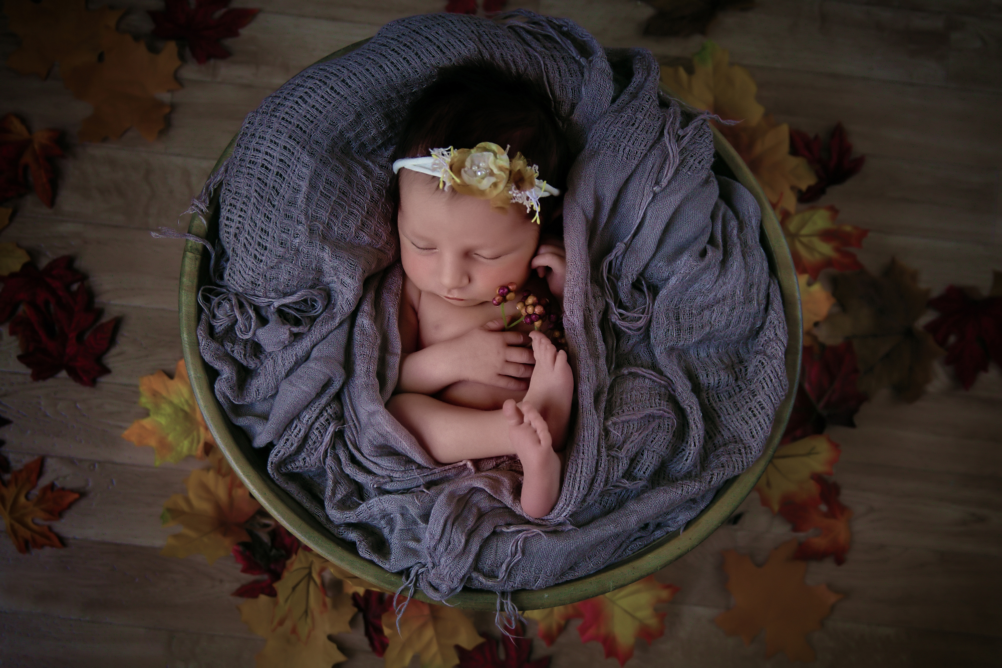 Fall inspired newborn photoshoot setup. Baby girl is lying in a wooden bowl surrounded by autumn leafs. Newborn Photoshoot ideas. Calgary and Airdrie newborn baby photographer - Milashka Photography