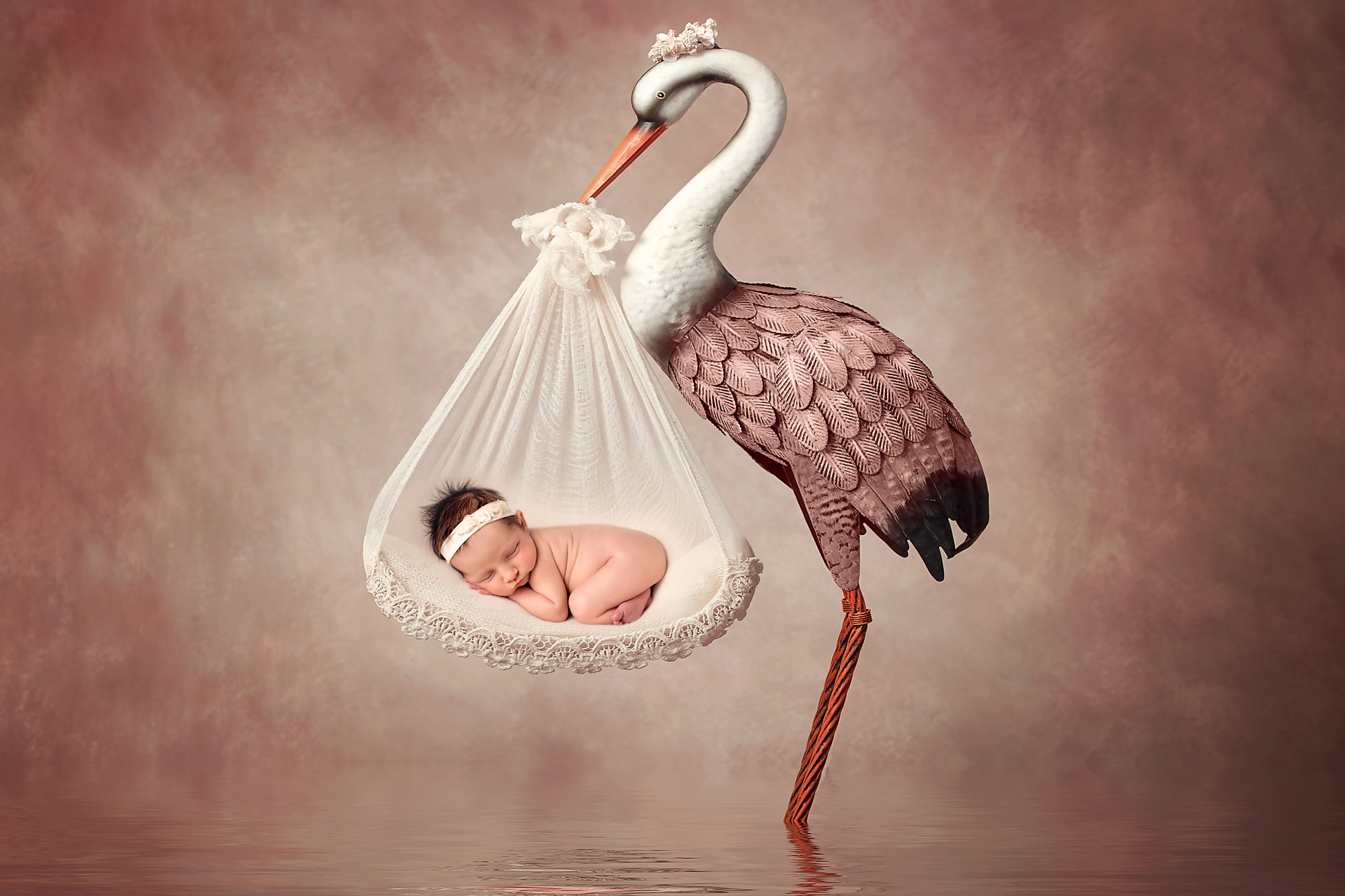 Stork and a baby. Digital backdrop of a stork holding a baby. Newborn Photoshoot ideas. Calgary and Airdrie newborn baby photographer - Milashka Photography