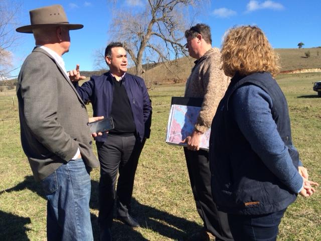 Gary Nairn, John Barilaro, Peter Hazell and Rebecca Bradley at Mulloon Creek Natural Farm.