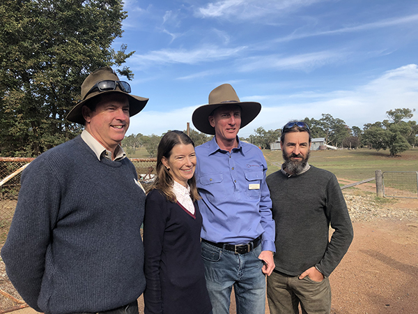L-R:  Peter Hazell  (MCLRP Project Coordinator),  Diana Cavanagh  (TMI Board),  Luke Peel  (TMI Research Coordinator),  Craig Strong  (ANU Fenner School for Environment & Society)
