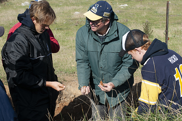 In the soil pit with Peter Hazell (TMI)