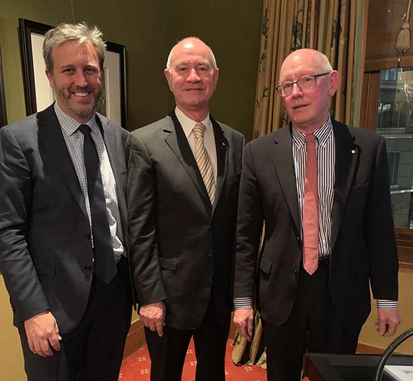 L-R:  Matt Egerton-Warburton  (King & Wood Mallesons),  Gary Nairn  (The Mulloon Institute),  Howard Tanner  (founder of Tanner Kibble Denton (TKD) Architects).