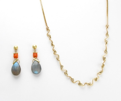 18k gold earrings with vintage coral and labradorite / 14k gold hand made 'script' links and box chain