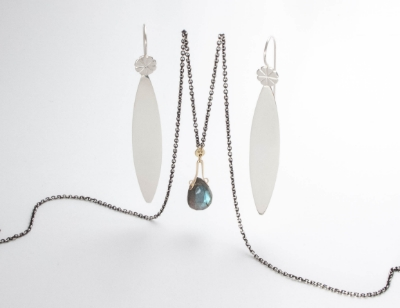 Terrestrial Delight Slice of Life earrings and 14k and silver labradorite necklace