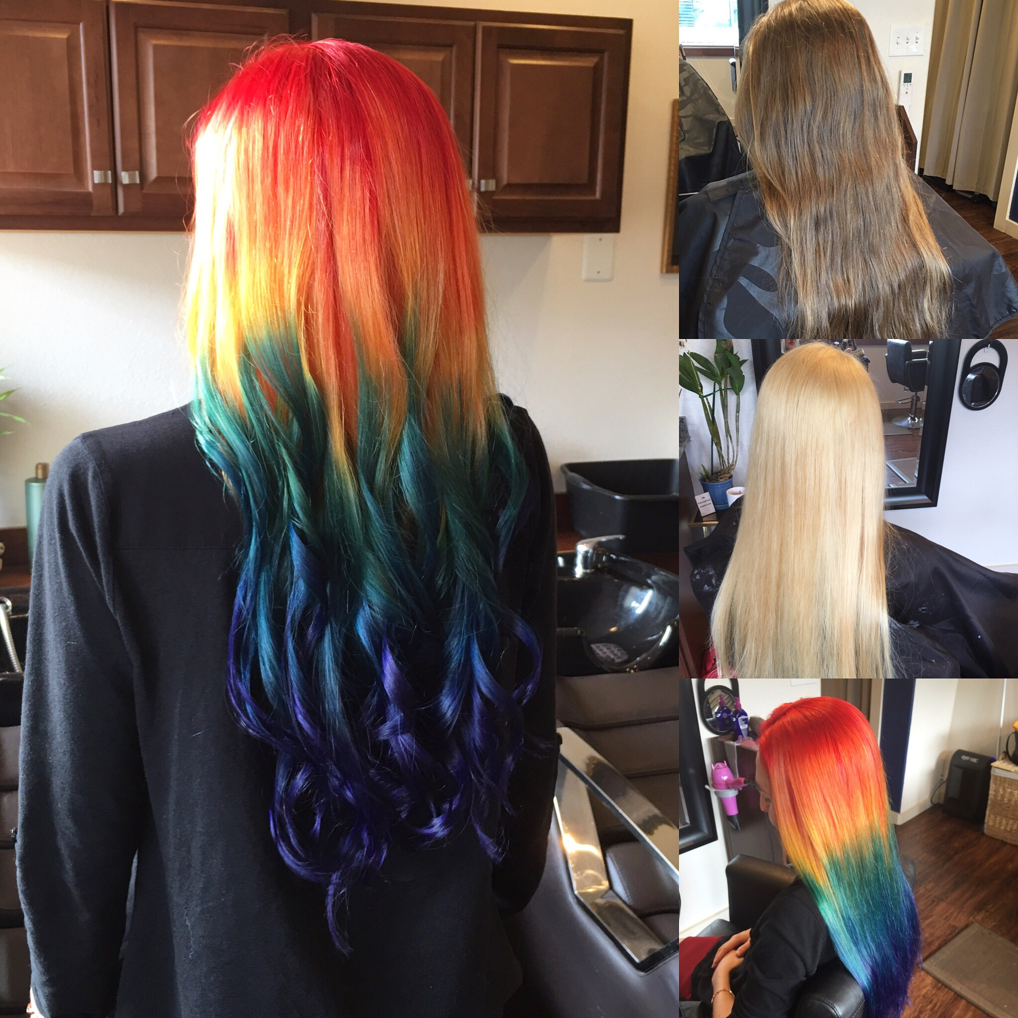Steps to achieve rainbow blend hair