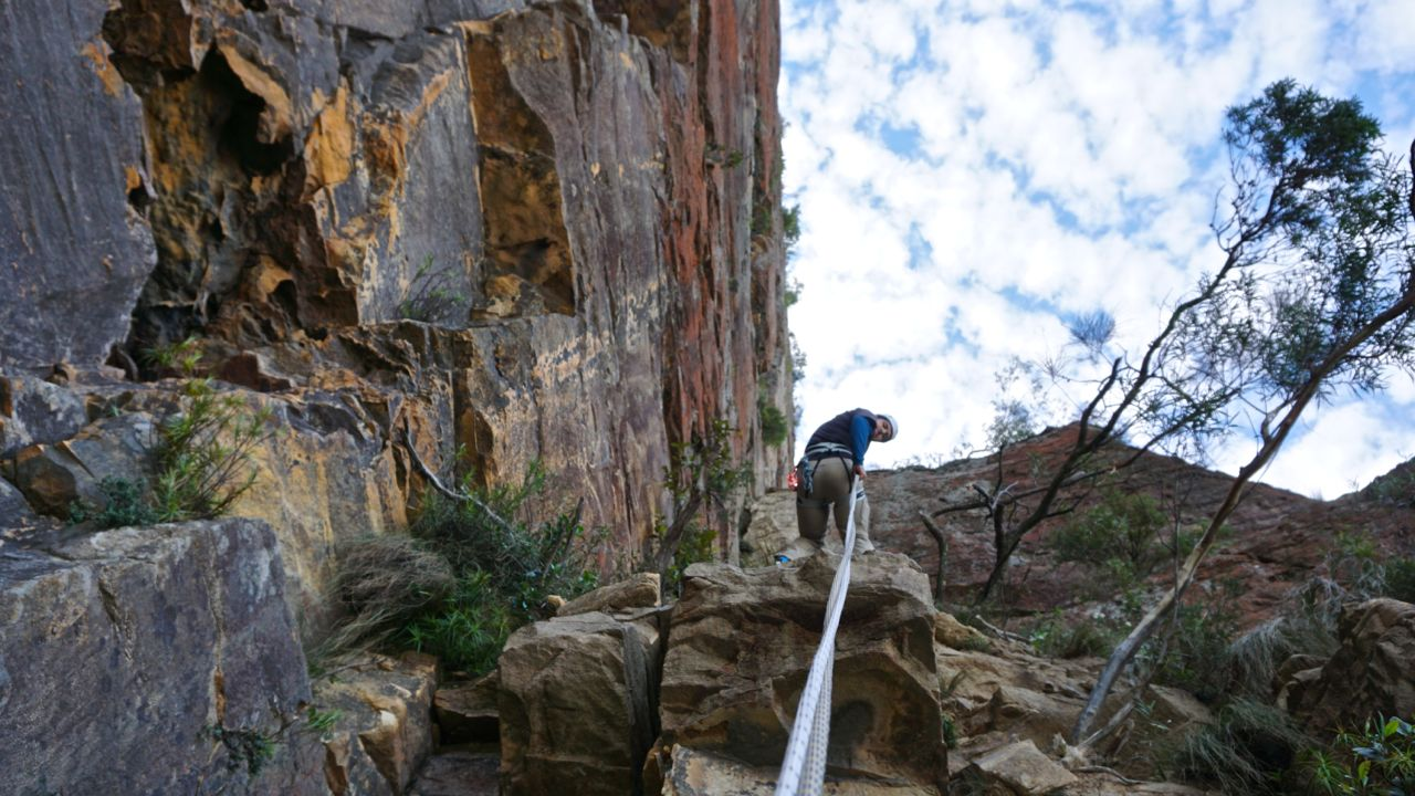 abseiling a canyon