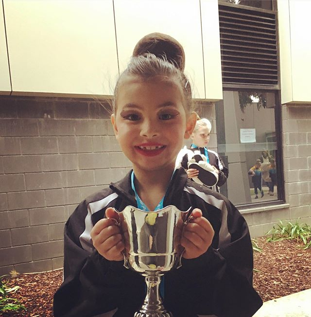 This little champion killing it in calisthenics today! Their beautiful team won the overall trophy. They worked so hard and did some amazing performances. They were strong, focused and totally pulled it together on the day... This is a team sport, but with make up