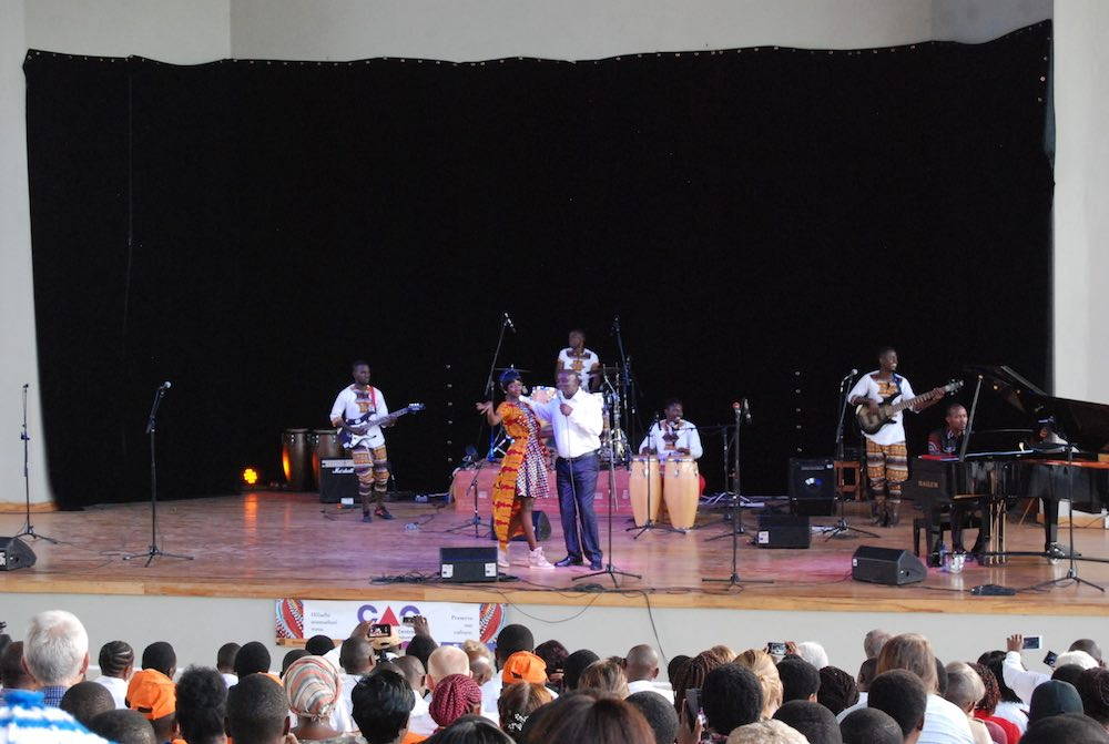 Performing bongo fleva with Theodore Ngwembele