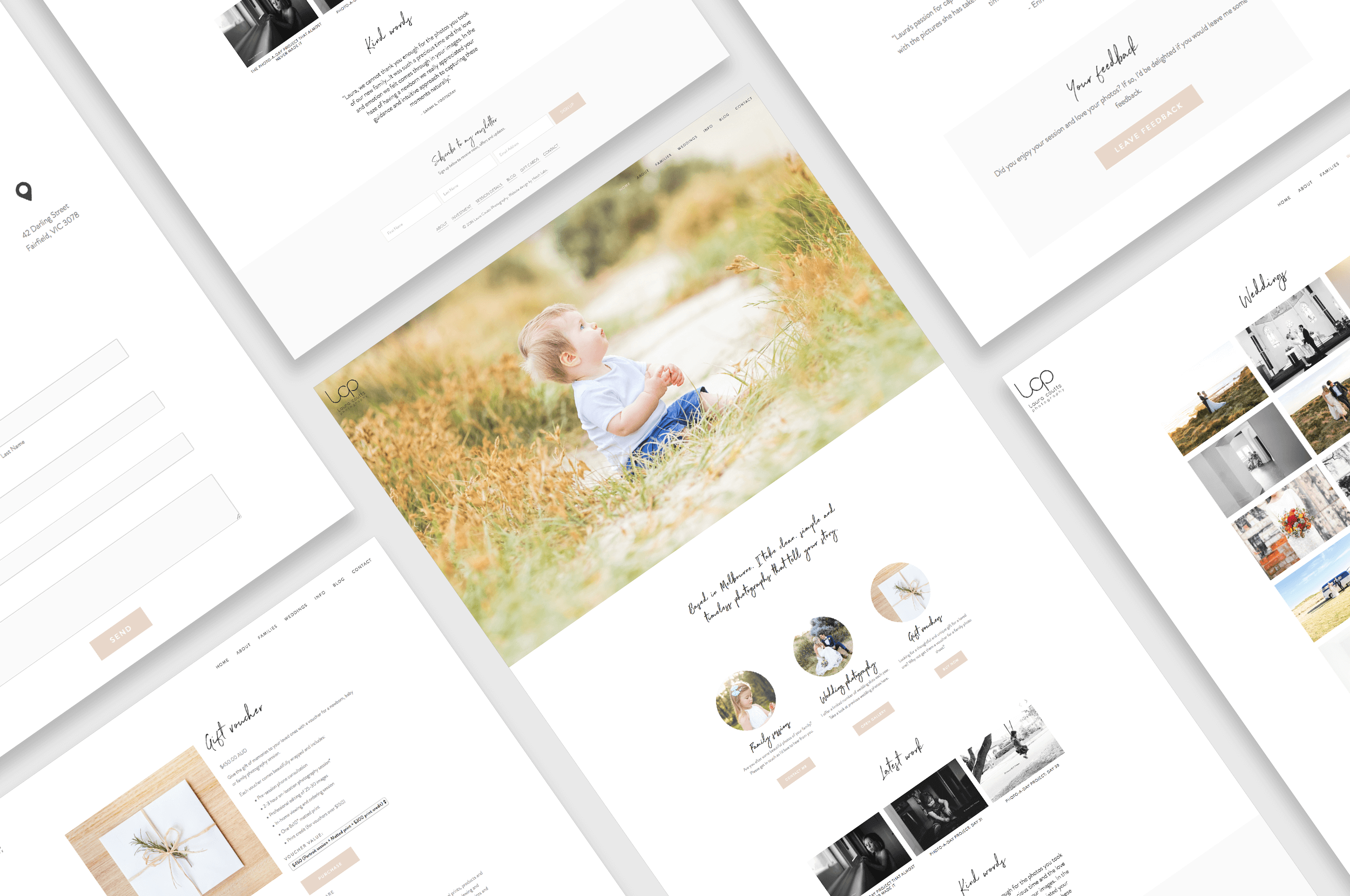 Beautiful websites for professional photographers and web design for photographers and a website for Laura Coutts Photography.