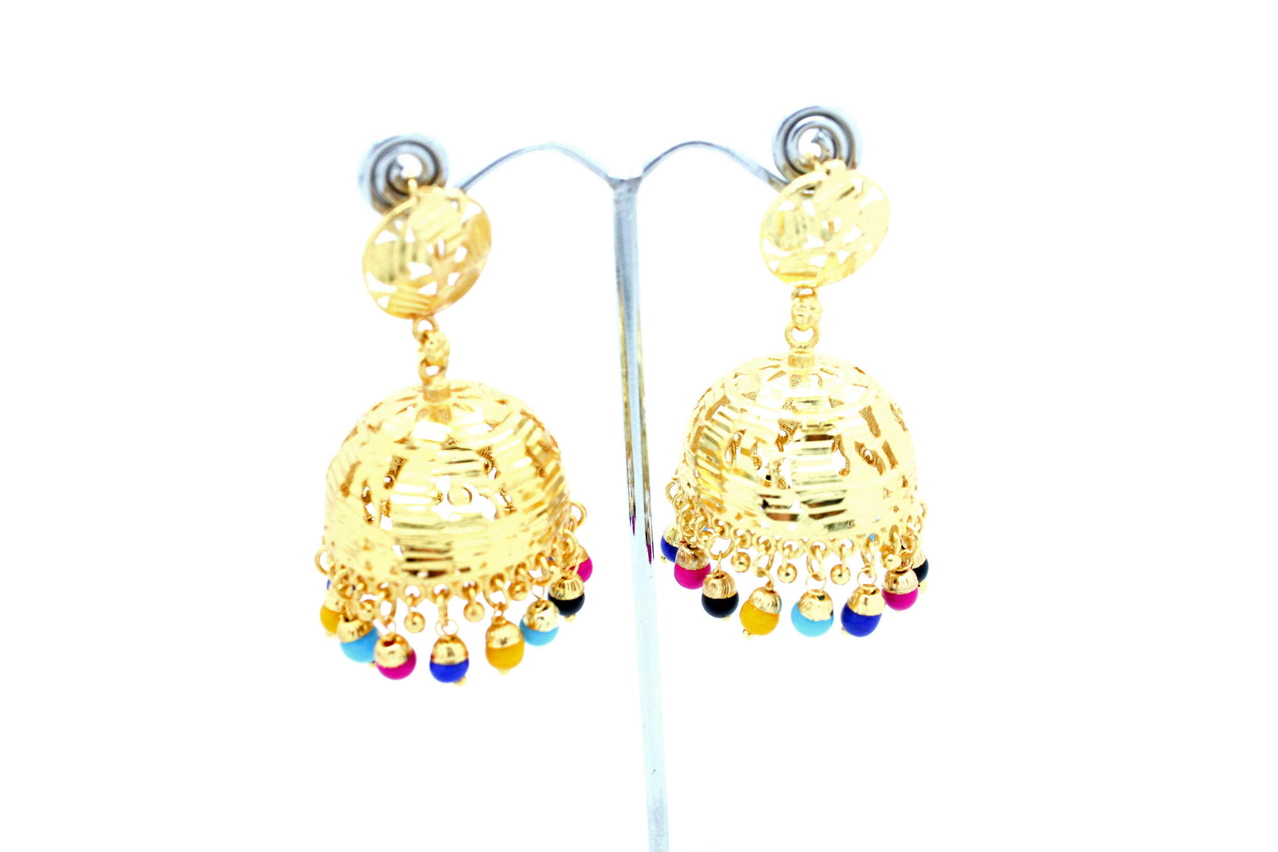 Gold Indian Lightweight Jhumki Earrings