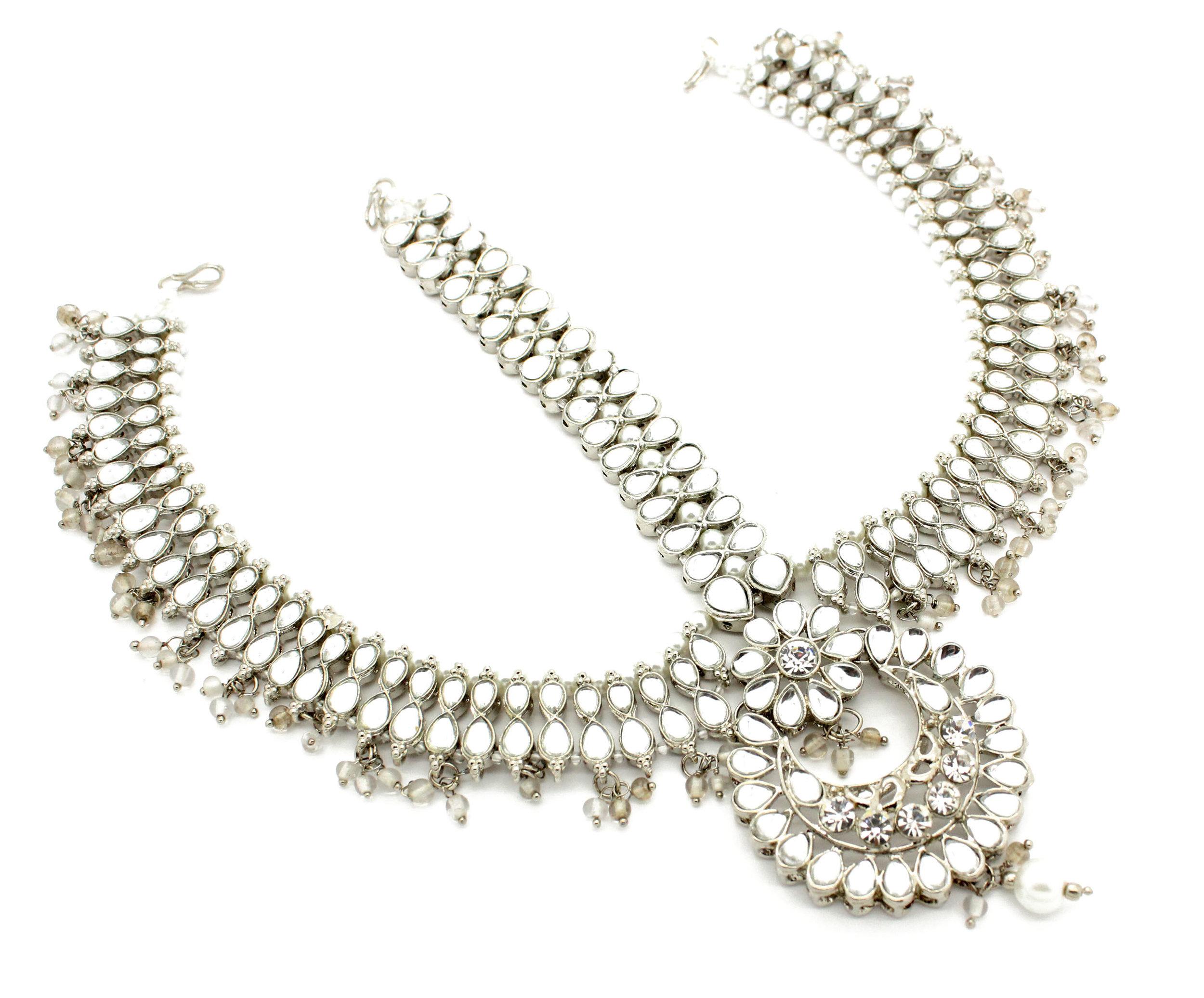Statement Indian Kundan Padmavati Matha Patti Headpiece Head Chain