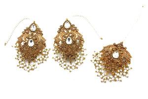 a6df63e83 Antique Gold Diamante Indian Asian Tikka & Earring Jewellery Jewelry Set