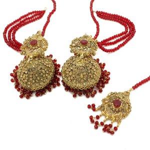 230fdacc9 Red Antique Gold Indian Asian Pakistani Jhumki Tikka Earring Set Mehndi Jewellery  Jewelry
