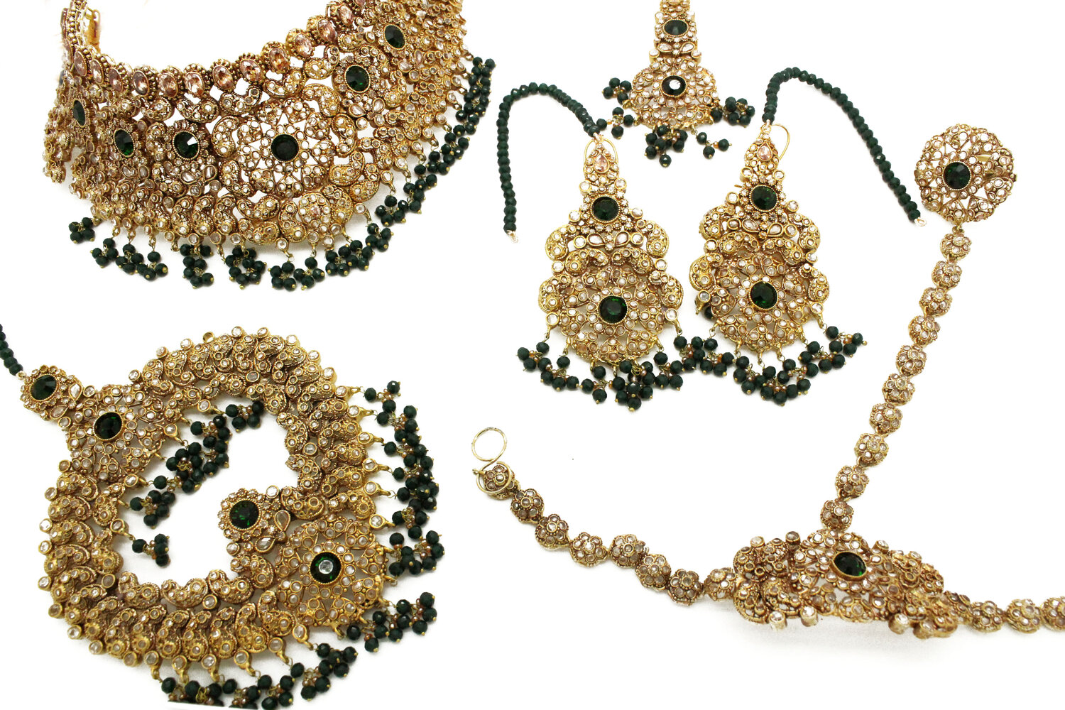 Green Antique Gold Indian Pakistani Bridal Necklace Jewellery