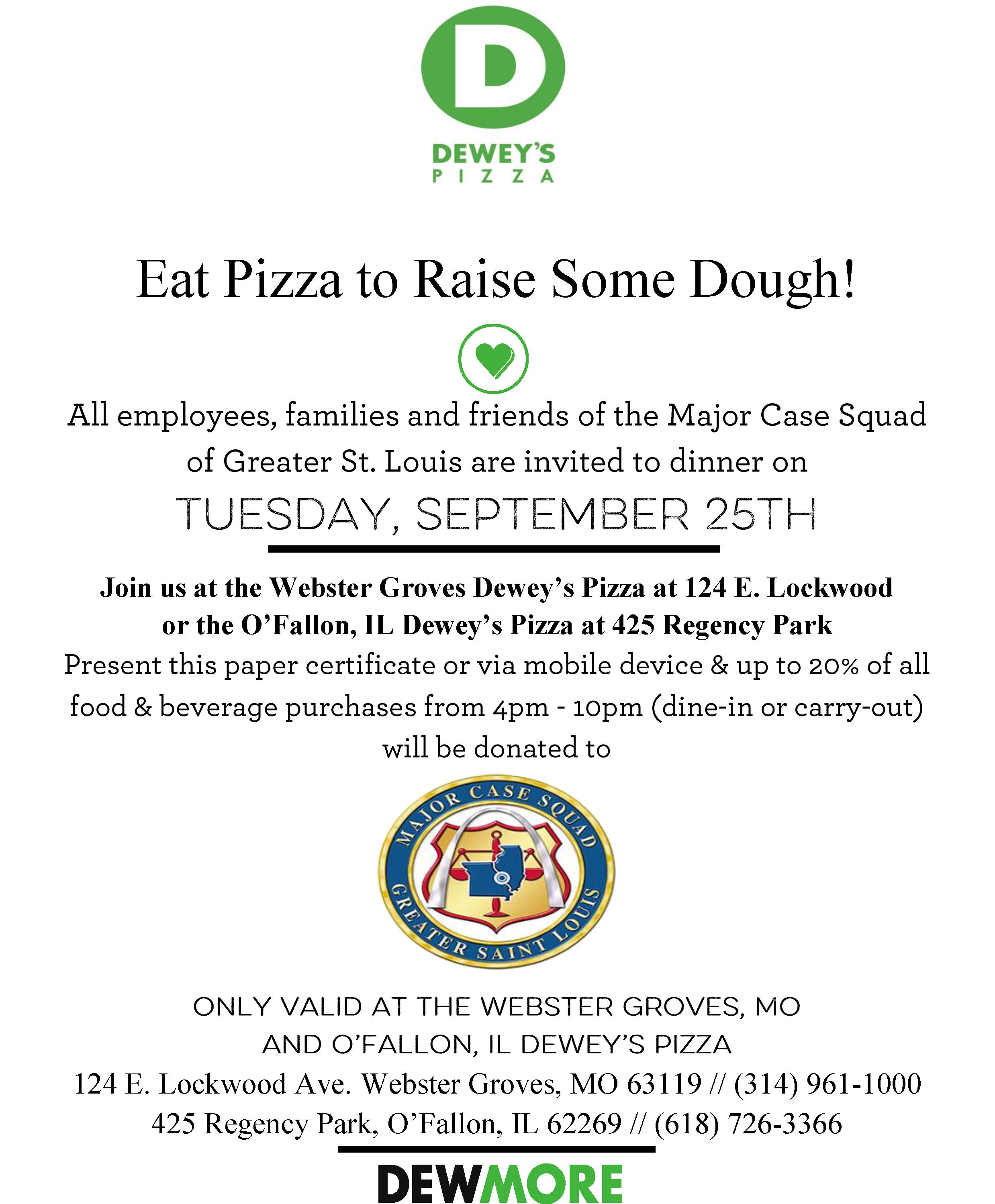 Dewey's Pizza Fundraiser