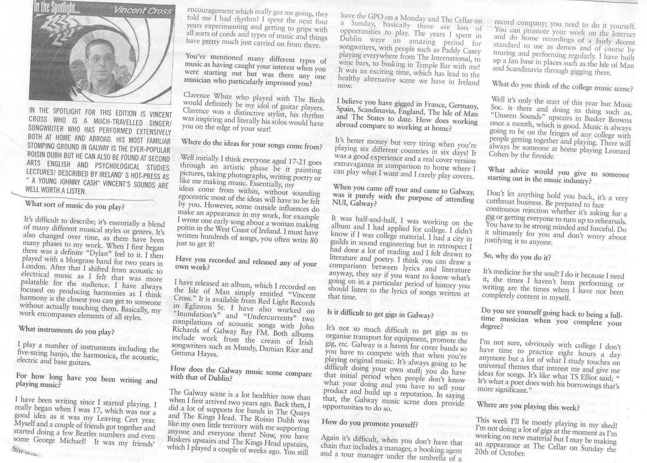 Interview Q & A for Galway University 2003