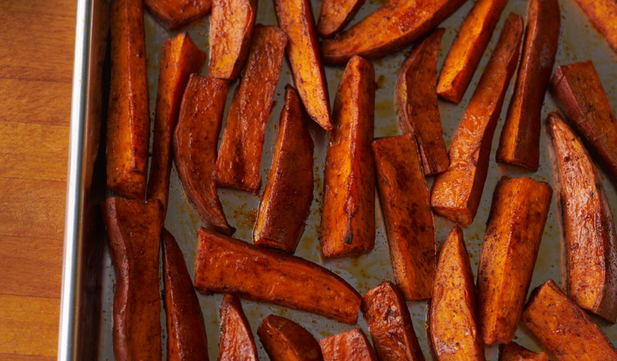 Sweet Potato Fries      Fries that are good for you - baked with healthy oils