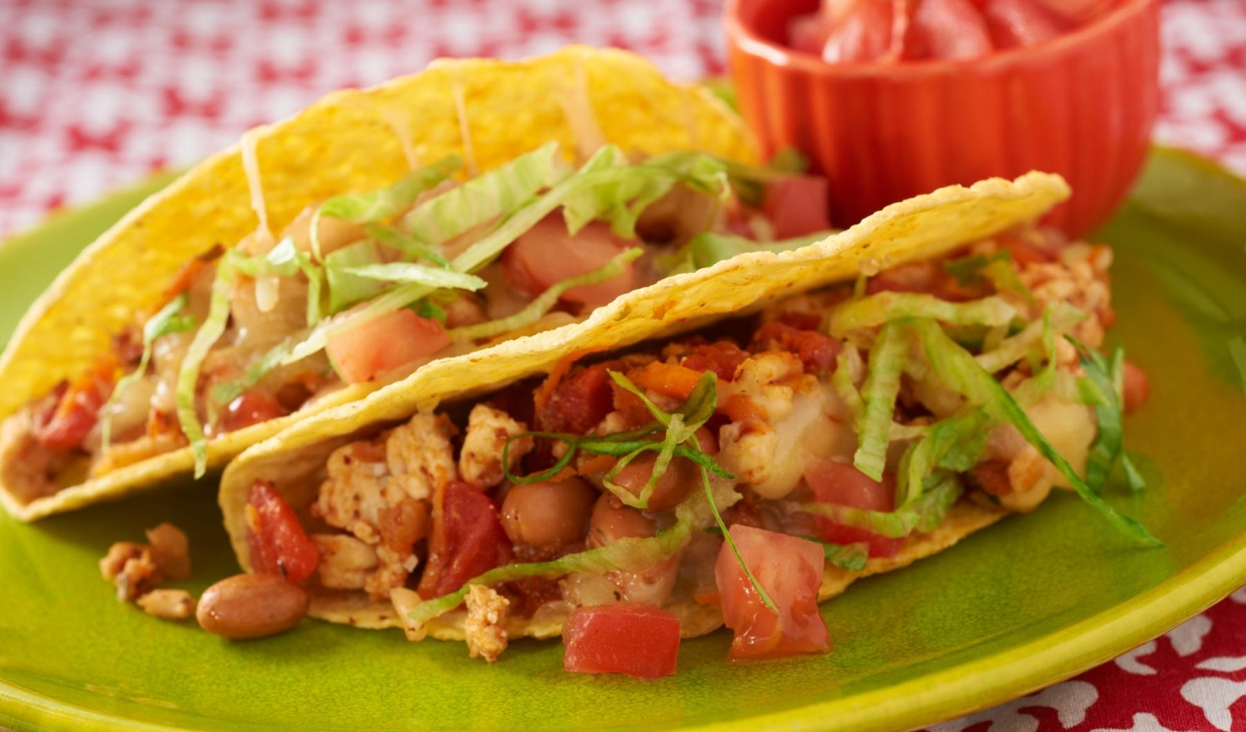 Turkey Tacos      Just 1lb of meat feeds 8 people, with added beans and veggies.