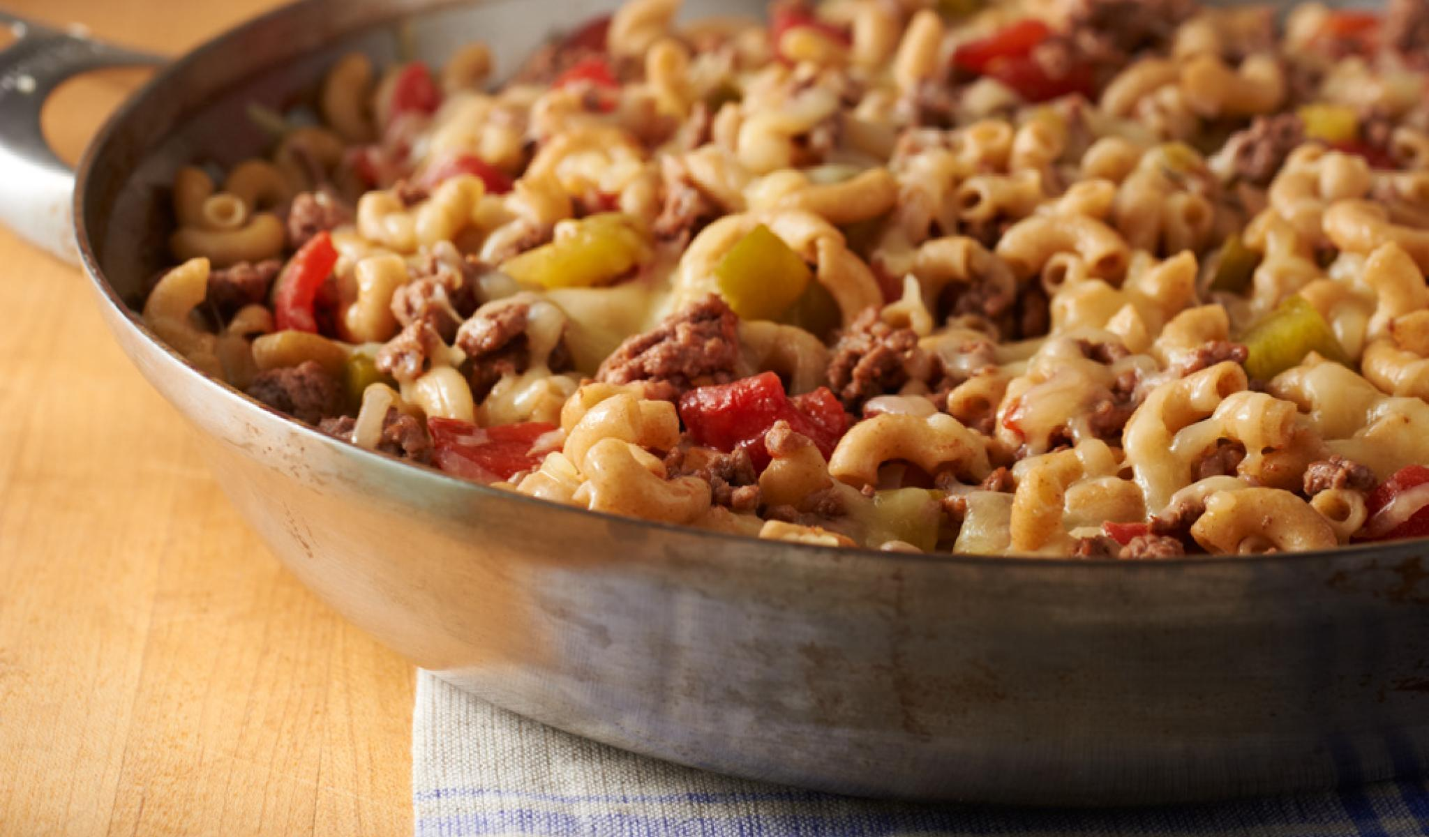 "Cheesy Hamburger Skillet      You'll never need a store-bought ""just add meat"" box again."