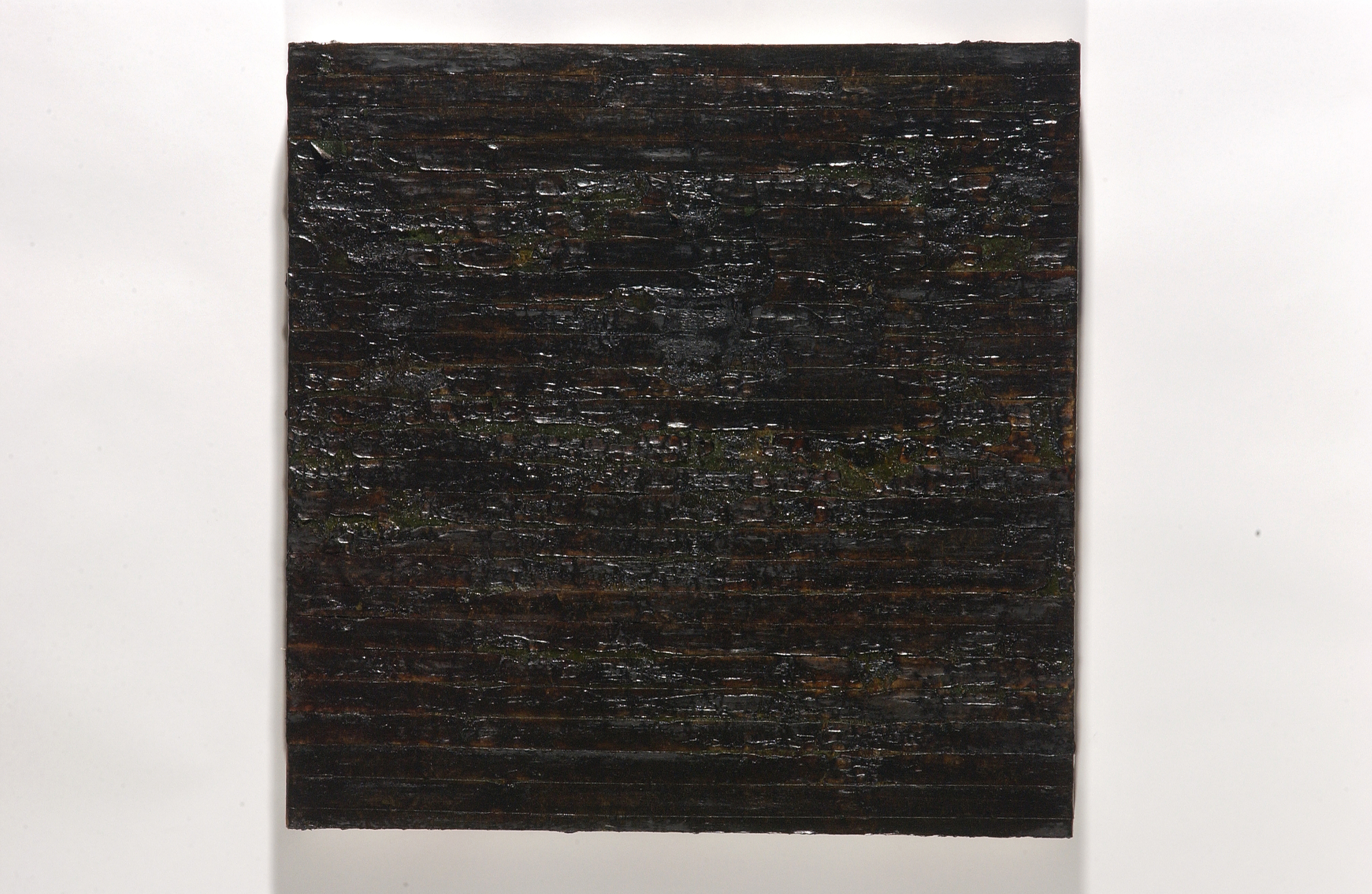 """scorched earth (black painting II)   mixed media on panel, 24x24"""", 2003  $750"""