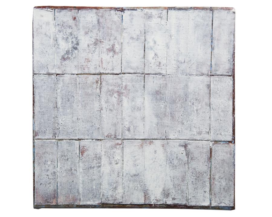 """hoist II   collage and oil on panel, 10x10"""",2005  $450"""