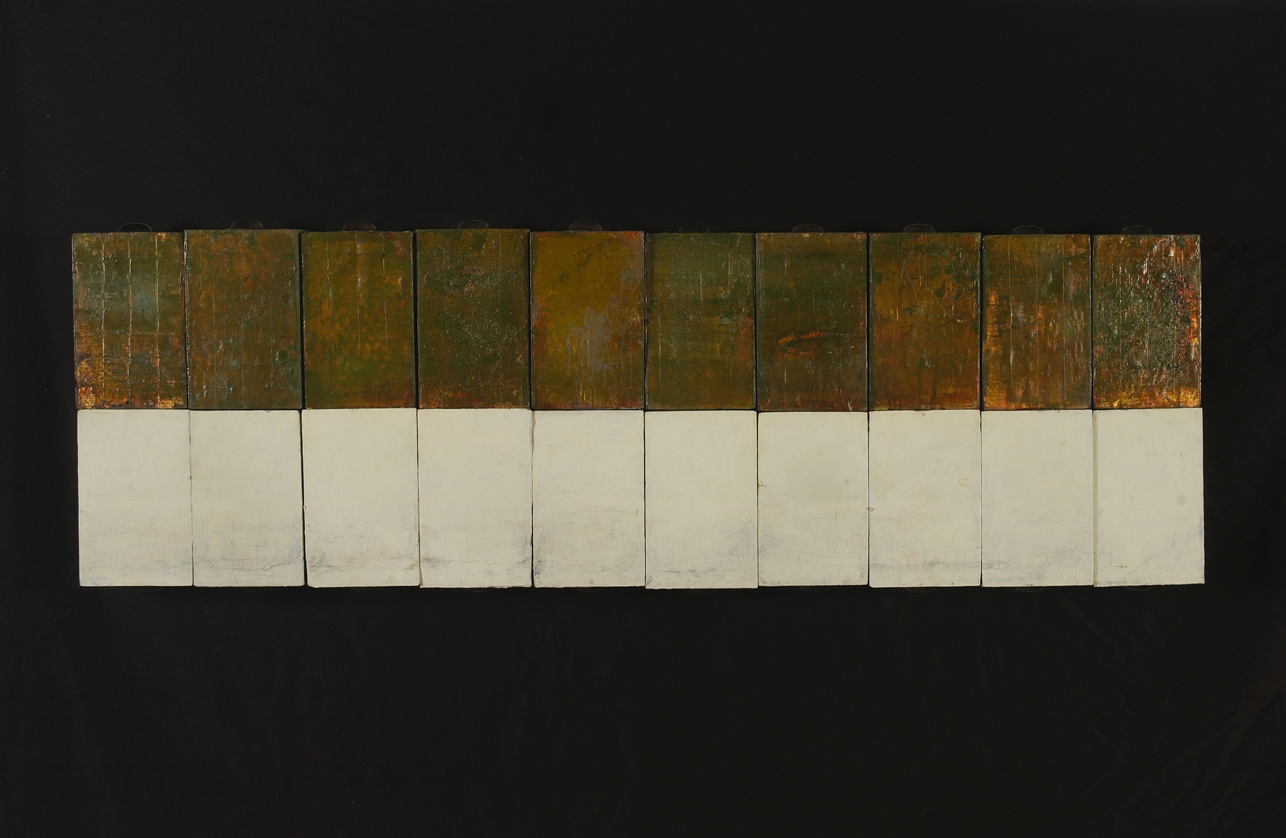 the narrow path (after Basho)   a stacked line of paintings on recovered industrial tool and die drawers  $5000