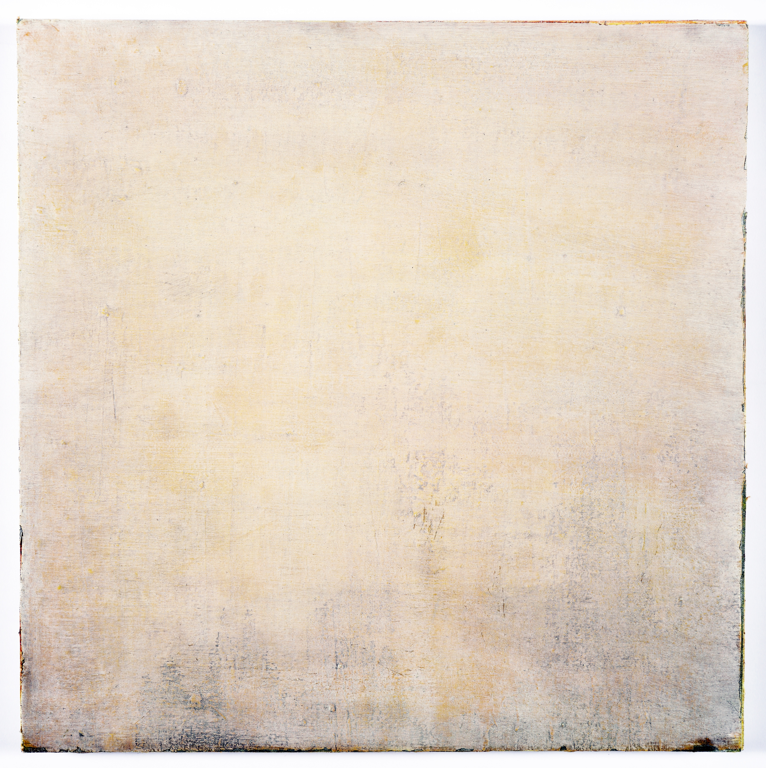 """what remains without remaining?   oil,    dry pigment on salvaged canvas mounted on panel, 20.5x20.5""""  2008-2013  $700"""