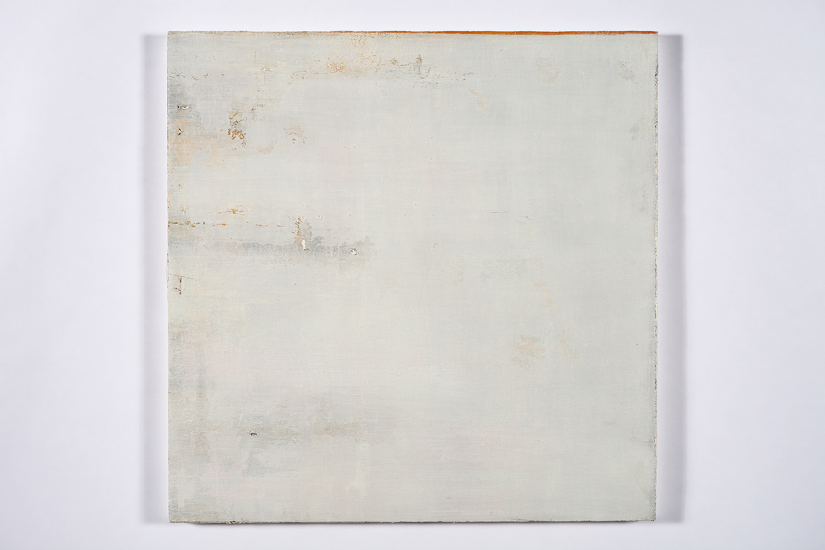 "faint murmur, (sky splits)   oil on salvaged canvas mounted on panel 24x24""  2008-2012"