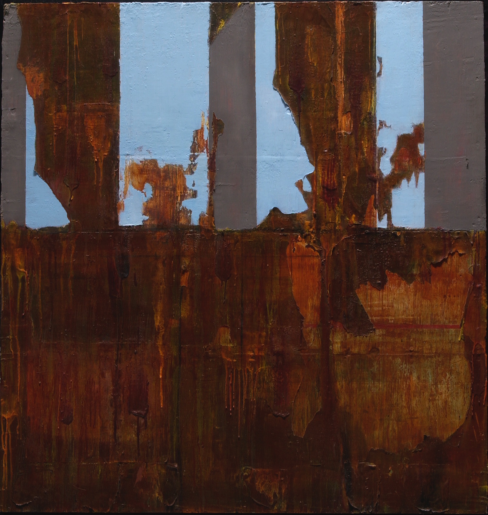 "differance    oil, encaustic, mixed media on panel, 48x48"", 2003  in private collection"