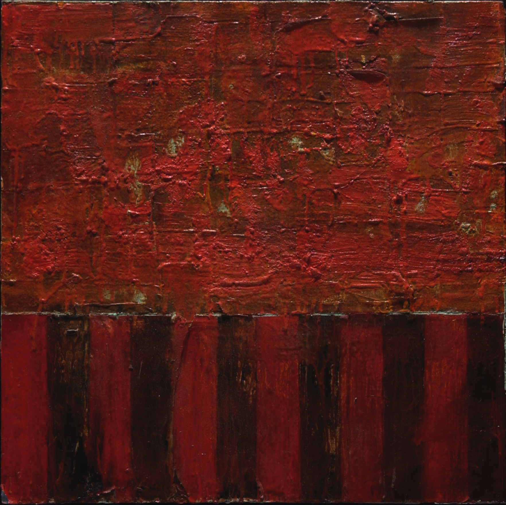 "possess the land   oil and mixed media on panel, 24x24"", 2002  in private collection"