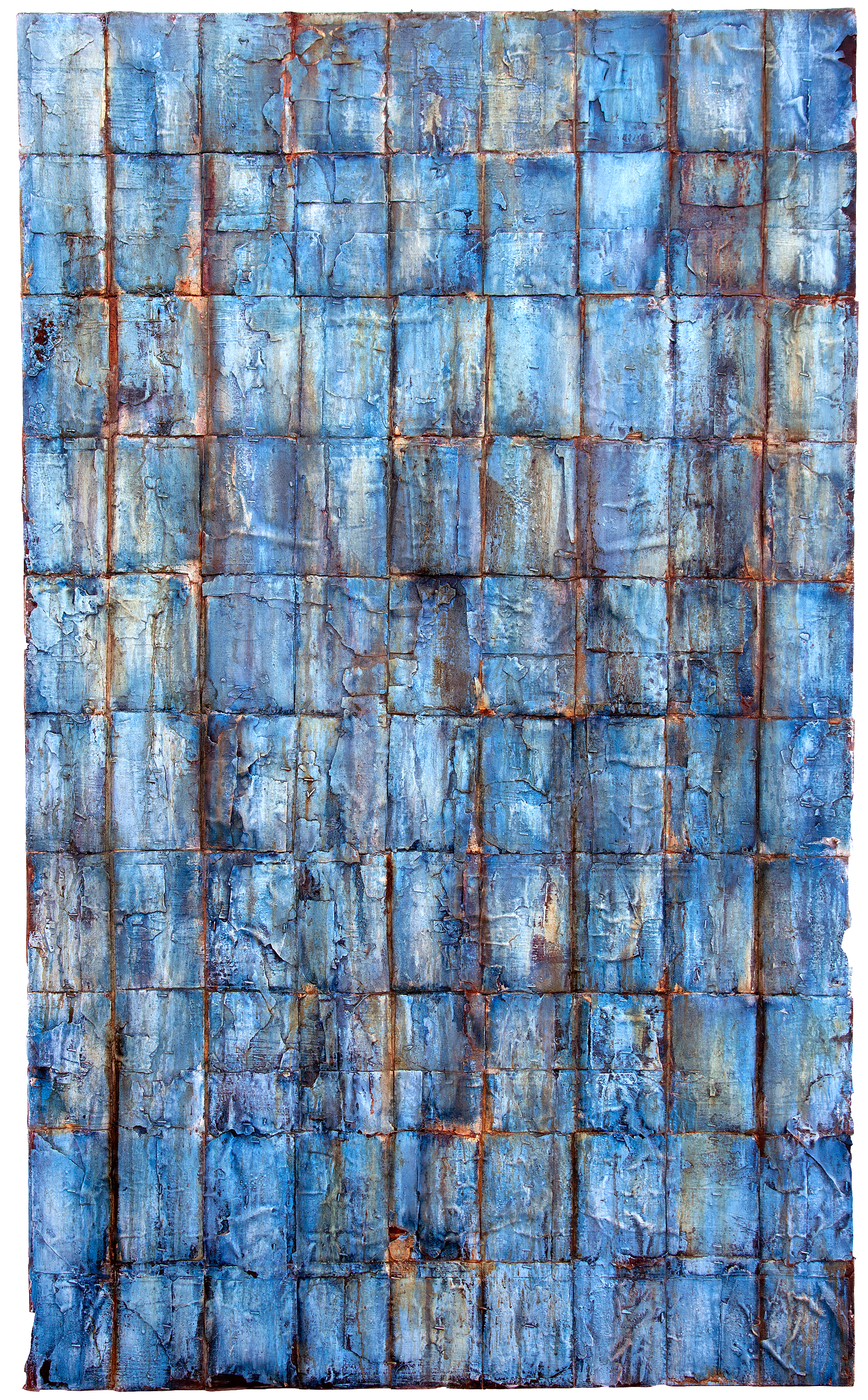 "blue ruin   mixed media on canvas, 36"" by 60"", 2015  in private collection"