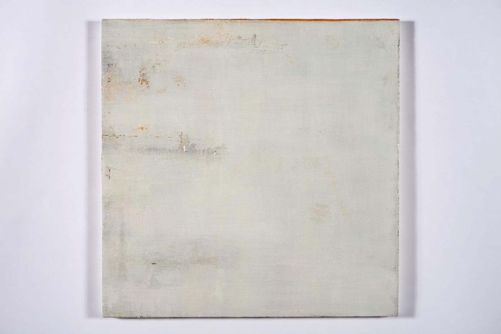 "faint murmur, (sky splits)   oil on salvaged canvas mounted on panel 24x24""  2008-2012  $750"