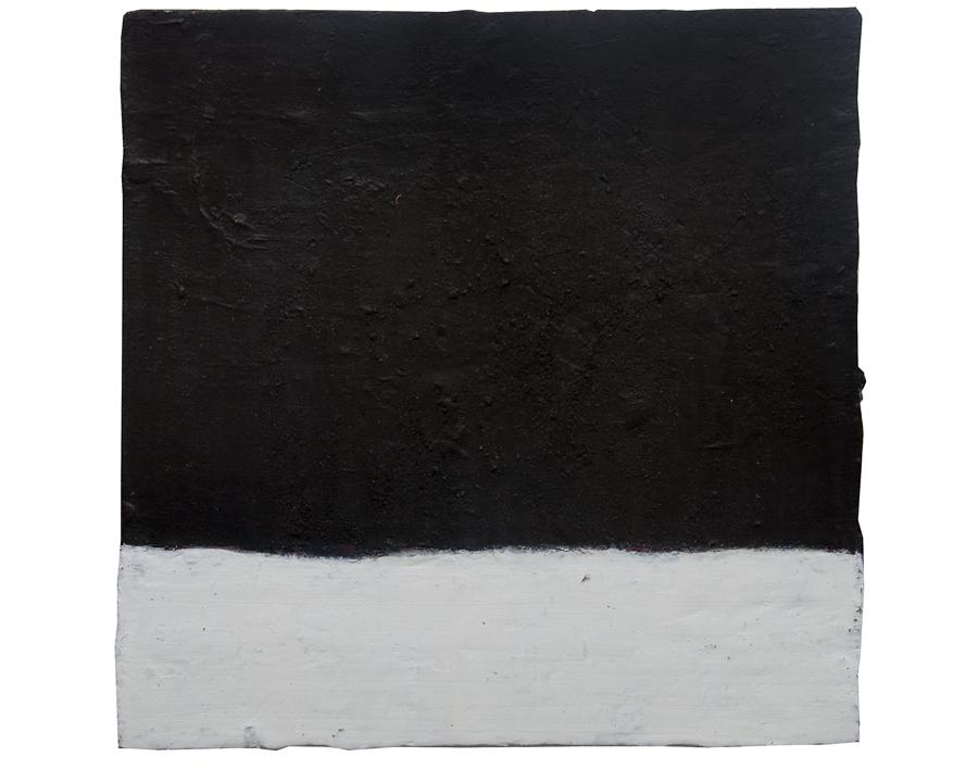 "untitled (festina lente)   mixed media on salvaged panel, 2009, 16x16""  $450"
