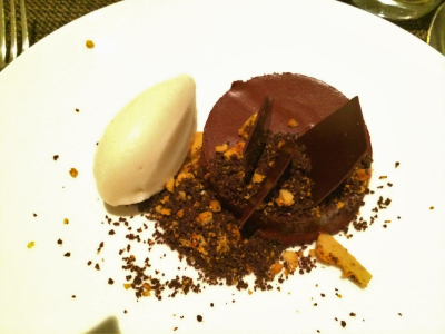 Indigo at One Aldwych -  Dairy-free chocolate mousse, with honeycomb crumb and c rème fraîche ice cream.
