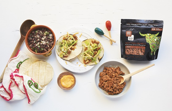 "Cinqo de Mayo tacos made with Beyond Meat ""Beef-free Crumble"""