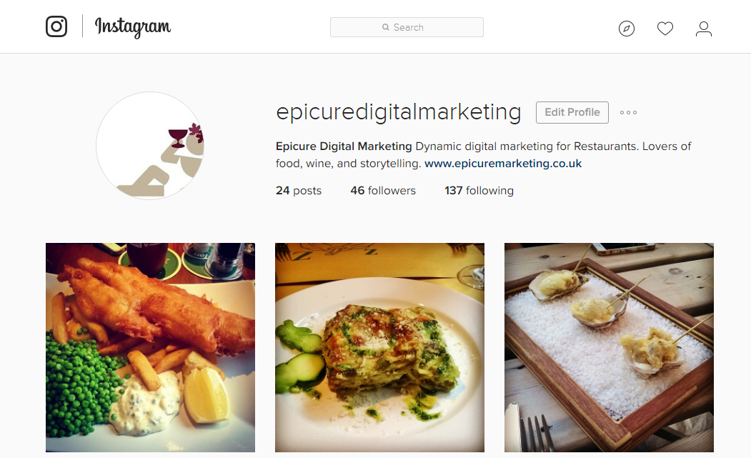 Epicure Digital Marketing's Instagram Page