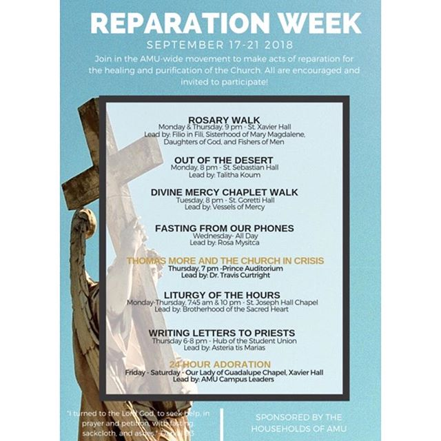 Join in the AMU- wide movement to make acts of reparation for the healing and purification of the Church. All are encouraged and invited to participate!