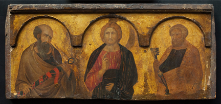 Pietro Lorenzetti, 'Christ between Saints Paul and Peter', c. 1320 © Ferens Art Gallery, Hull Museums. Photo: The National Gallery, London
