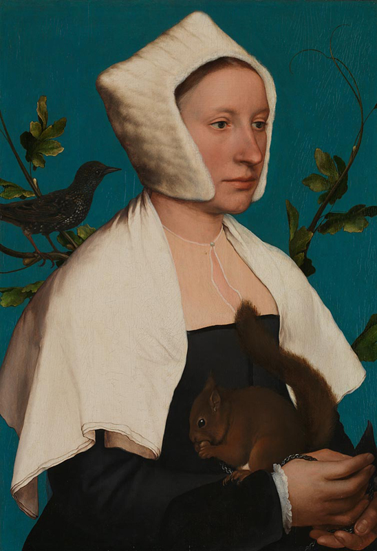 Hans Holbein the Younger, A Lady with a Squirrel and a Starling (Anne Lovell?) , about 1526-8 © The National Gallery