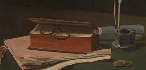 François Bonvin, 'Still Life with Book, Papers and Inkwell', 1876 © The National Gallery