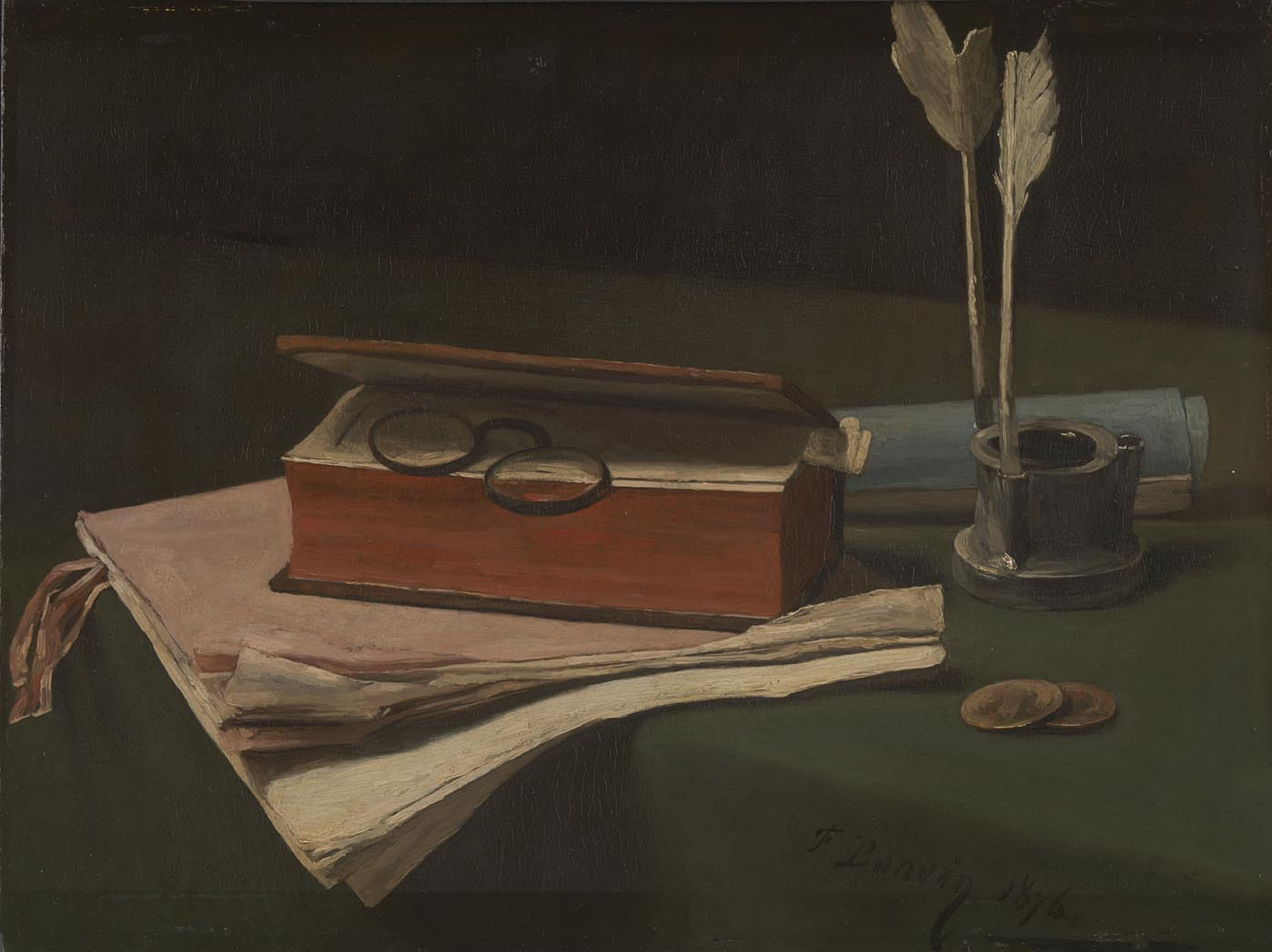 François Bonvin,  Still Life with Book, Papers and Inkwell , Sir Hugh Lane Bequest, 1917 © The National Gallery, London