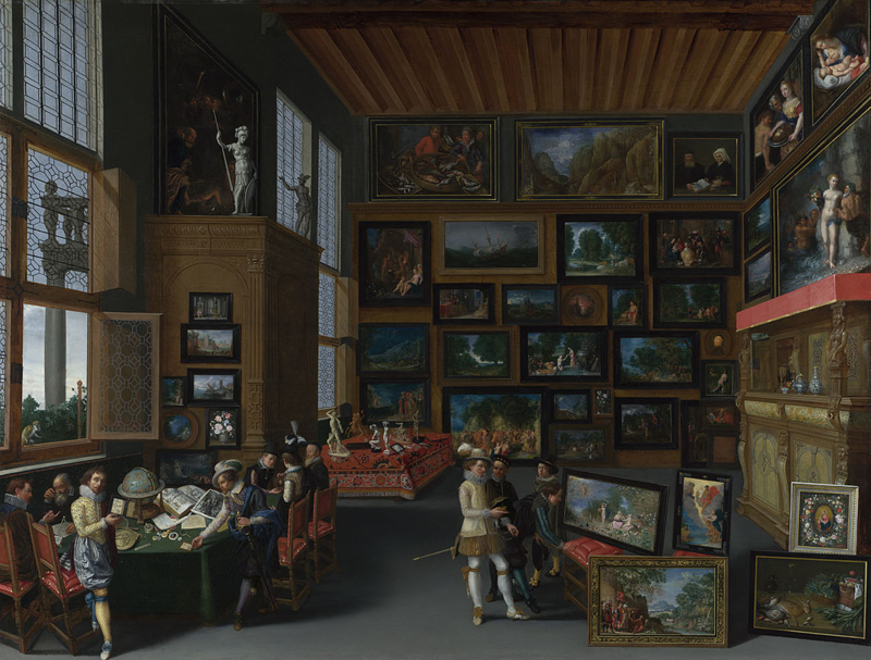 Flemish,  Cognoscenti in a Room hung with Pictures , about 1620. Bequeathed by John Staniforth Beckett, 1889 © The National Gallery, London