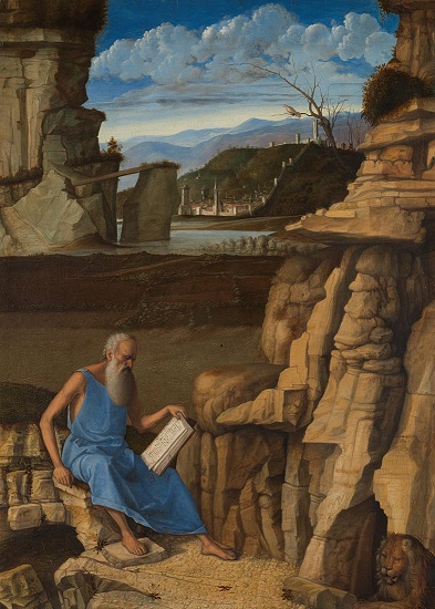 Giovanni Bellini, 'Saint Jerome reading in a Landscape', perhaps 1480-5 © The National Gallery, London
