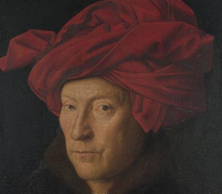 Jan van Eyck,  Portrait of a Man (Self Portrait?) , 1433 (detail) © The National Gallery, London