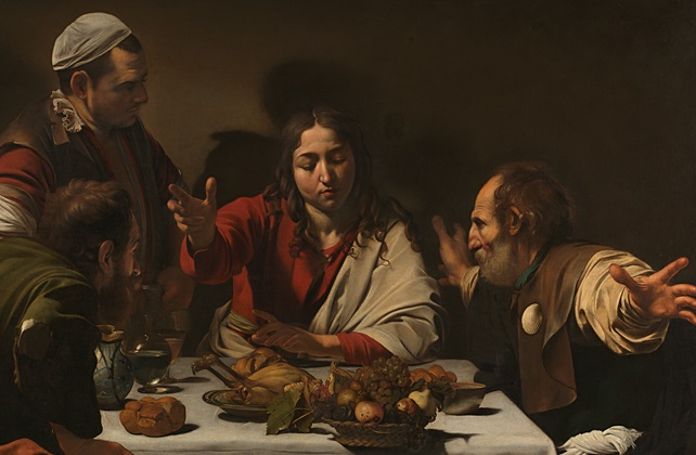 Michelangelo Merisi da Caravaggio,  The Supper at Emmaus  (detail), 1601. Presented by the Hon. George Vernon, 1839 © The National Gallery, London